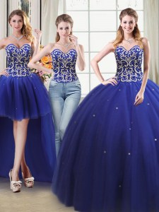 Comfortable Four Piece Ball Gowns Quinceanera Gown Royal Blue Sweetheart Tulle Sleeveless Floor Length Lace Up