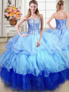 Sleeveless Organza Floor Length Lace Up Sweet 16 Dress in Multi-color with Ruffles and Sequins