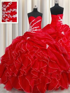 Pick Ups Sweetheart Sleeveless Lace Up Sweet 16 Quinceanera Dress Red Organza