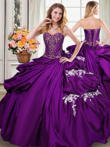 Flirting Purple Lace Up Sweetheart Beading and Appliques and Pick Ups 15 Quinceanera Dress Taffeta Sleeveless