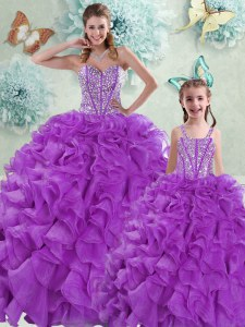 Low Price Organza Sweetheart Sleeveless Brush Train Lace Up Beading and Ruffles Quinceanera Dresses in Eggplant Purple