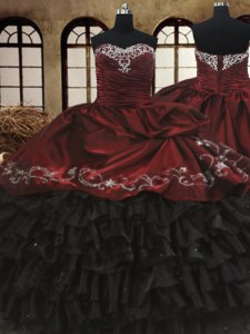 Beading and Embroidery and Ruffled Layers Sweet 16 Quinceanera Dress Red And Black Lace Up Sleeveless Floor Length