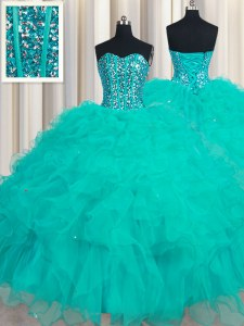 Attractive Turquoise Sweetheart Lace Up Beading and Ruffles 15 Quinceanera Dress Sleeveless