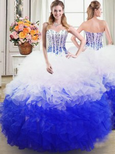Beading and Ruffles Quinceanera Dresses Blue And White Lace Up Sleeveless Floor Length
