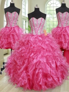 Eye-catching Four Piece Sleeveless Floor Length Beading and Ruffles Lace Up Quinceanera Dress with Hot Pink