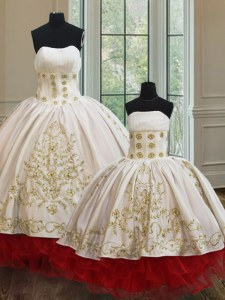 Stylish White and Red Lace Up Strapless Embroidery and Ruffled Layers Quince Ball Gowns Organza and Taffeta Sleeveless