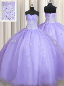 Spectacular Lavender Ball Gowns Organza Sweetheart Sleeveless Beading Floor Length Zipper Quinceanera Dresses
