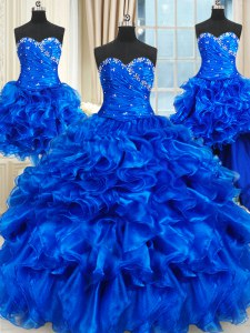 Four Piece Ball Gowns Sweet 16 Dress Royal Blue Sweetheart Organza Sleeveless Floor Length Lace Up