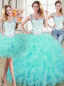 Glamorous Three Piece Straps Aqua Blue Sleeveless Organza Lace Up Quinceanera Gown for Military Ball and Sweet 16 and Quinceanera