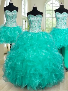 Excellent Four Piece Turquoise Lace Up Sweetheart Beading and Ruffles Quinceanera Dress Organza Sleeveless