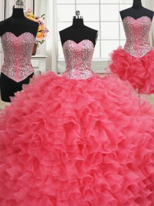 Three Piece Coral Red Organza Lace Up Quinceanera Gowns Sleeveless Floor Length Beading and Ruffles