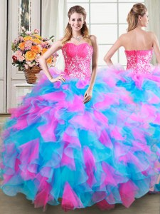 Floor Length Multi-color Quinceanera Gowns Organza and Tulle Sleeveless Beading and Ruffles