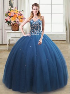 Luxury Floor Length Lace Up Ball Gown Prom Dress Teal for Military Ball and Sweet 16 and Quinceanera with Beading