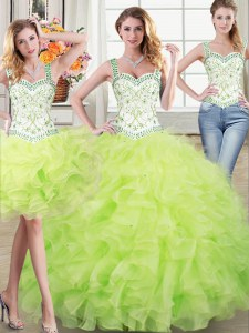 Three Piece Yellow Green Organza Lace Up Straps Sleeveless Floor Length Vestidos de Quinceanera Beading and Lace and Ruffles