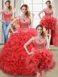 Admirable Four Piece Straps Sleeveless Fabric With Rolling Flowers Floor Length Zipper Sweet 16 Quinceanera Dress in Coral Red with Beading and Ruffles