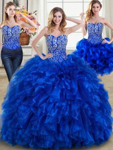 Three Piece Royal Blue Sleeveless Beading and Ruffles Lace Up Quinceanera Dress