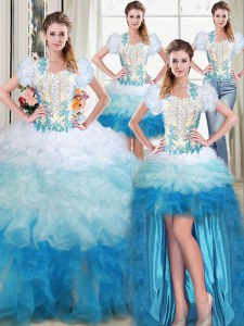 Four Piece Floor Length Ball Gowns Sleeveless Multi-color Quinceanera Dress Lace Up