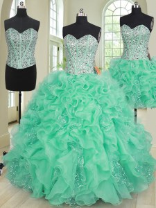 Ideal Three Piece Beading and Ruffles Sweet 16 Quinceanera Dress Turquoise Lace Up Sleeveless Floor Length