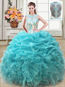 Scoop Beading and Ruffles Sweet 16 Dresses Aqua Blue Lace Up Sleeveless Floor Length