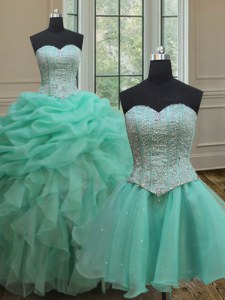 Fantastic Three Piece Turquoise Ball Gown Prom Dress Military Ball and Sweet 16 and Quinceanera and For with Beading and Ruffles and Pick Ups Sweetheart Sleeveless Lace Up