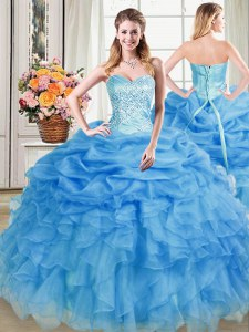Best Pick Ups Sweetheart Sleeveless Lace Up Sweet 16 Dress Blue Organza