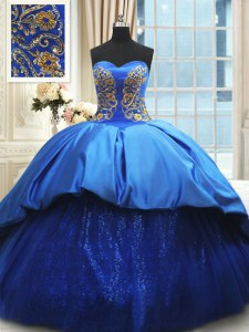 Romantic Sweetheart Sleeveless Quince Ball Gowns With Train Court Train Beading and Embroidery Royal Blue Satin