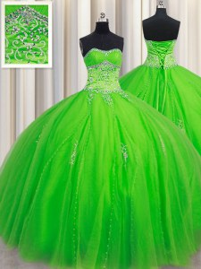 Sweetheart Neckline Beading Quinceanera Gowns Sleeveless Lace Up