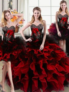 Four Piece Black and Red Ball Gowns Organza and Tulle Sweetheart Sleeveless Beading and Ruffles and Hand Made Flower Floor Length Lace Up Quince Ball Gowns