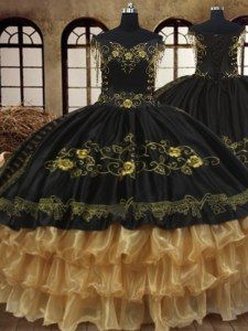 Exceptional Ruffled Off The Shoulder Sleeveless Lace Up Vestidos de Quinceanera Black Organza and Taffeta
