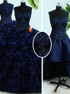 High Quality Four Piece Navy Blue Straps Neckline Beading and Ruffles Quinceanera Gowns Sleeveless Zipper