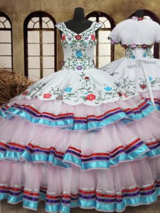 Custom Fit White Ball Gowns Organza and Taffeta Straps Sleeveless Embroidery and Ruffled Layers Floor Length Lace Up 15 Quinceanera Dress
