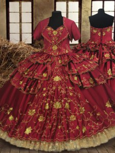 High Class Floor Length Lace Up Quinceanera Gown Wine Red for Military Ball and Sweet 16 and Quinceanera with Beading and Embroidery and Ruffled Layers