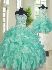 Most Popular Three Piece Floor Length Apple Green Quinceanera Dress Sweetheart Sleeveless Lace Up
