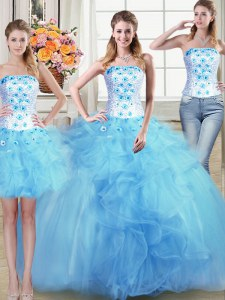 High Class Three Piece Tulle Strapless Sleeveless Lace Up Beading and Appliques and Ruffles Vestidos de Quinceanera in Light Blue