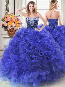 Luxury Royal Blue Organza Lace Up Sweetheart Sleeveless Floor Length Ball Gown Prom Dress Beading and Ruffles