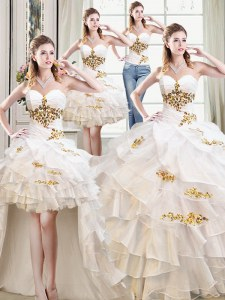 Graceful Four Piece White Lace Up Vestidos de Quinceanera Beading and Ruffles Sleeveless Floor Length