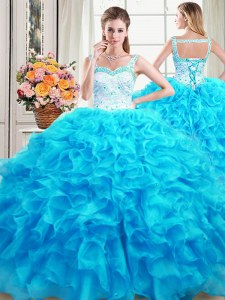 Straps Floor Length Baby Blue Quinceanera Dress Organza Sleeveless Beading and Ruffles