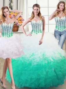 Decent Three Piece White and Green Ball Gowns Organza Sweetheart Sleeveless Beading and Ruffles Floor Length Lace Up Sweet 16 Dresses
