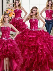 Comfortable Four Piece Fuchsia Organza Lace Up Strapless Sleeveless Floor Length 15 Quinceanera Dress Beading and Ruffles