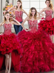 Four Piece Red Ball Gown Prom Dress Sweetheart Sleeveless Brush Train Lace Up