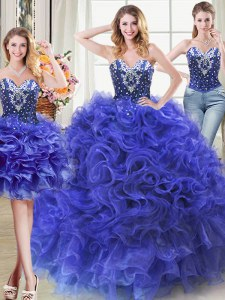 Three Piece Royal Blue Ball Gowns Sweetheart Sleeveless Organza Floor Length Lace Up Beading and Ruffles Quince Ball Gowns