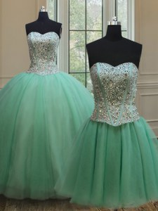 Captivating Three Piece Floor Length Ball Gowns Sleeveless Apple Green Quinceanera Gowns Lace Up