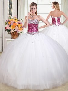 Low Price Sleeveless Lace Up Floor Length Beading Quinceanera Gowns