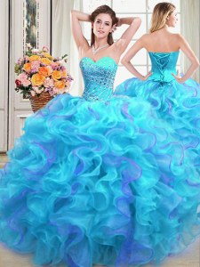 Sleeveless Floor Length Beading and Ruffles Lace Up Quinceanera Dress with Multi-color