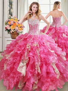 Enchanting Sequins Hot Pink Sleeveless Organza Lace Up Vestidos de Quinceanera for Military Ball and Sweet 16 and Quinceanera
