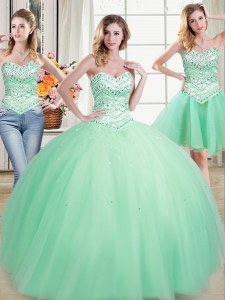 Three Piece Beading Quinceanera Dresses Apple Green Lace Up Sleeveless Floor Length