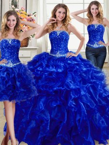 Three Piece Ball Gowns 15th Birthday Dress Royal Blue Strapless Organza Sleeveless Floor Length Lace Up