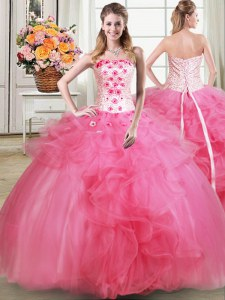 Sleeveless Lace Up Floor Length Beading and Appliques and Ruffles Vestidos de Quinceanera