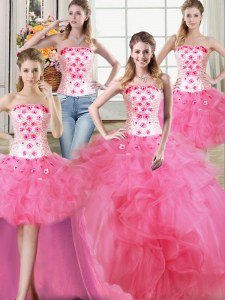 Suitable Four Piece Sleeveless Lace Up Floor Length Beading and Appliques and Ruffles Sweet 16 Quinceanera Dress