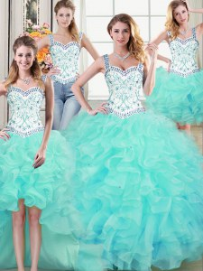 Four Piece Straps Aqua Blue Ball Gowns Beading and Lace and Ruffles Quince Ball Gowns Lace Up Organza Sleeveless Floor Length
